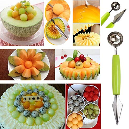 Halloween - 3pcs Set Multi Functional Vegetable Fruit Carving Knife Slicer Device Melon Scoop Ballers Cutter - Fruit Retractable Fold Paper Pedicure Lenses Prop Home Acne Reamer Lemon Remo -