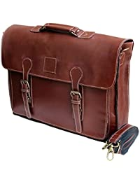 "18"" Large dark Leather bag for men messenger bag shoulder bag mens Laptop Bag office bag cross body bag"
