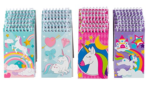 Spiral Notepad – 24-Pack Top Spiral Notebooks, Bulk Mini Spiral Notepads for Party Favors, Note Taking, To-do Lists, Lined Paper, 4 Cute Unicorn Designs, 3 x 5 Inches