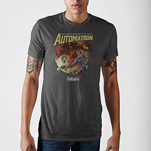Ladies Charcoal Vault - Fallout Automatron Vault Boy Poster Adult Men's Soft Charcoal T-shirt (M)