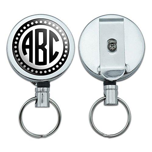 Graphics and More Personalized Custom Heavy Duty Metal Retractable Reel ID Badge Key Card Name Tag Holder with Belt Clip - Monogram Circle Font Scalloped Outline