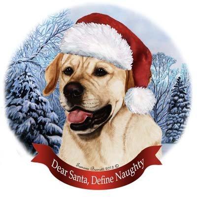 Dog in Santa Hat Porcelain Hanging Howliday Ornament (Yellow Lab) (Porcelain Yellow Labrador)