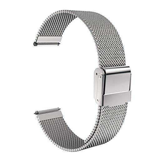 18mm Watch Band, MoKo Mesh Stainless Steel Bracelet Replacement Strap for Huawei Watch 1st/Fit Honor S1, Asus Zenwatch 2 1.45, Withings Activite Pop/Pulse Ox, Nokia Withings Steel HR 36mm, Silver