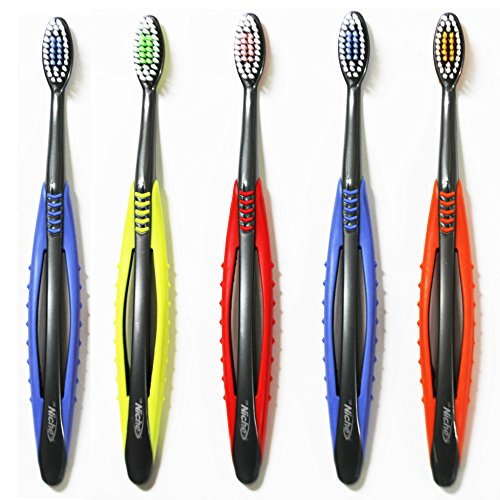 Niche Wide Comfort Flex Toothbrush with Ultra Soft Bristle, For Sensitive Gums, Tapered, Non-Nylon, BPA Free, 4 colors (5 Pack)