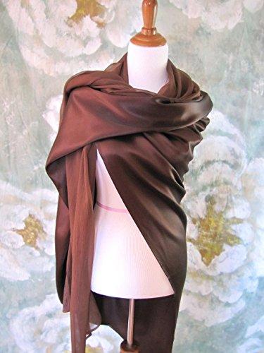 Chocolate Silk Evening Wrap, Silk Shawl, Oversized Silk Scarf, Evening Shawl, Handmade by Silky Affection