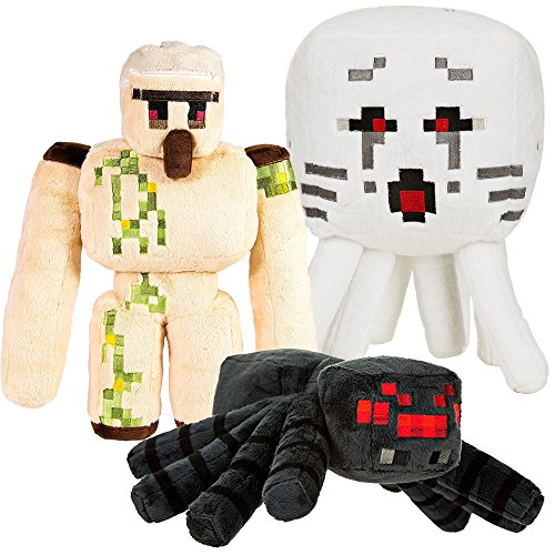 JINX Minecraft Large Plush Stuffed Toy Pack (Iron Golem, Spider and Ghast)