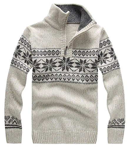 EMAOR Men's Quarter-Zip Mock-Neck Knit Sweater