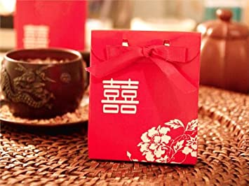 Amazon.com: 100 pcs RED Gold Double Happiness Wedding FAVOR BOXES ...