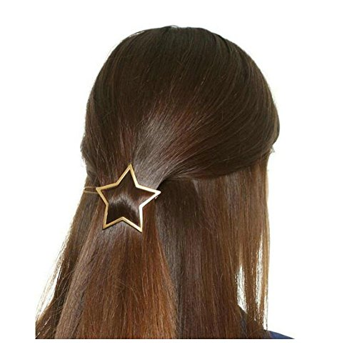 Joyci 1Pcs Exquisite Women's Hair Pin Simple Style Star Ponytail Hair Clip (Gold)