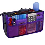 JET-BOND Multi-Pocket Handbag Organizer Liner Pouch Medium Size with Handles (Purple)