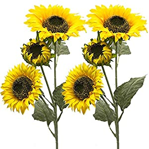 Aisamco 3 Pack Artificial Sunflower Flocking Govine Artificial Flowers Fake Flowers 3 Stems in 30' Tall Floral Arrangement Tall Plant Stem Greenery Favor for Home Wedding Decoration 10