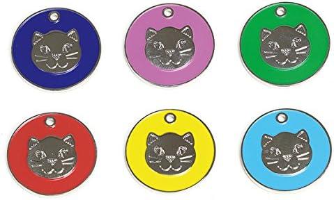 Placas grabadas de identificación para gatos y gatitos, con diseño de cara de gato: Amazon.es: Productos para mascotas