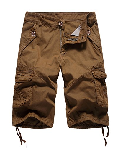 FOURSTEEDS Women's Casual Loose Fit Multi-Pockets Camouflage Twill Bermuda Cargo Shorts Brown US (Brown Bermuda)