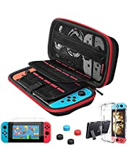 Carrying Case for Nintendo Switch,Vilcome 10 IN 1 Travel Carry Case Portable Protective Bag Pouch Hard Shell Case with 2 Pack Screen Protector,20 Game Cards Storage and 2 Joycon Cover for Nintendo Switch Console & Accessories