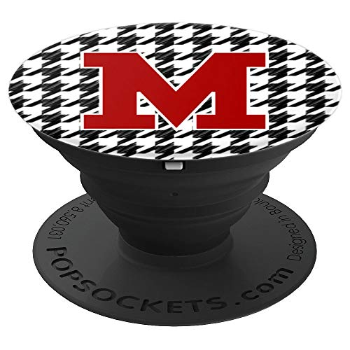 Alabama Monogram - Crimson and Houndstooth Letter M Alabama Monogram Initial - PopSockets Grip and Stand for Phones and Tablets