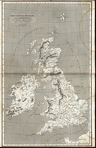 United Kingdom Roman Britain Ireland Wales 1820 antique engraved map