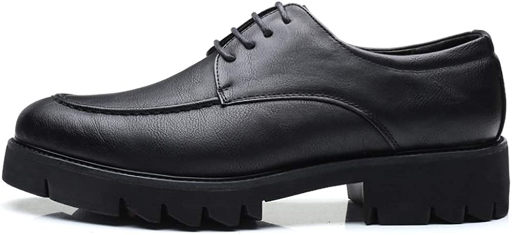 MUMUWU Mens Fashion Oxford Casual Round Toe Lace up Thick Bottom Leisure Shoes Dress Shoes