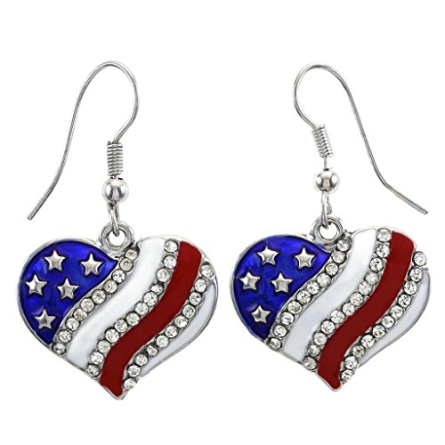 SoulBreezeCollection Patriotic American USA Flag Heart Dangle Drop Earrings 4th of July Independence Day Gift (Heart - American Heart Flag