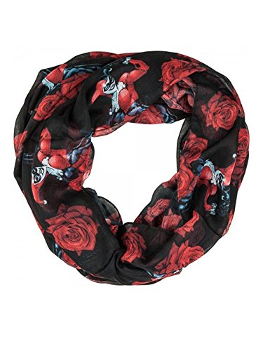Harley Quinn Women's Rose Scarf Black 88x88cm BioWorld SF3P2XBTM