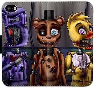 Funda de cuero caja de la carpeta Artyjoyful FNAF O8V2C Funda iPhone 4 4S d2g622 claro del caso del tirón del teléfono celular funda genérica