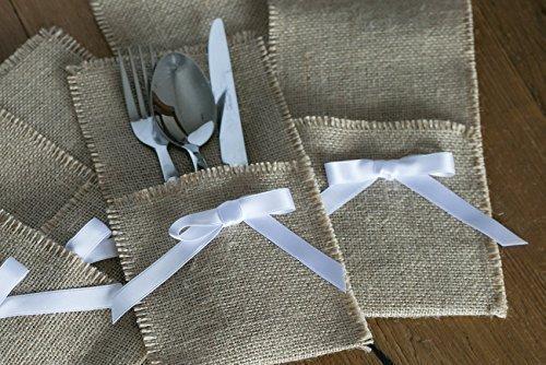 Porta cubiertos arpillera,estilo rústico, ideal bodas o decoración. Tela de yute y