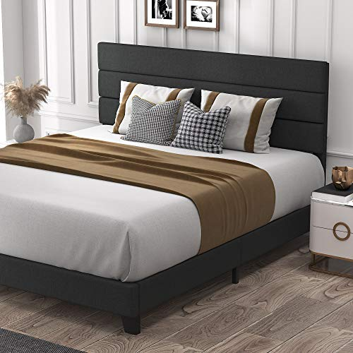 Allewie King Size Platform Bed Frame with Fabric Upholstered Headboard and Wooden Slats, Fully Upholstered Mattress…