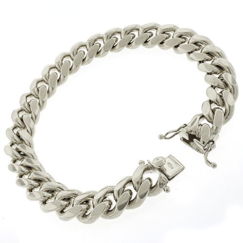 Sterling Silver 12.5mm Miami Cuban Curb Link Thick Solid 925 Rhodium Bracelet Chain 9