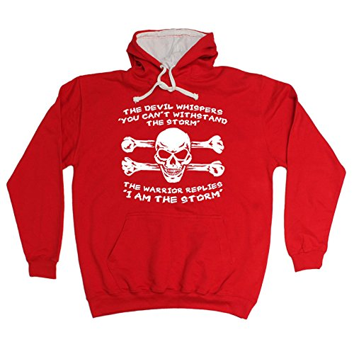123t The Devil Whispers I Am The Storm Funny Hoody Sarcasm Top Warrior Slogan Skull Bones Birthday Gift Christmas Present 2 TONE HOODIE (Polyester Is The Devil compare prices)