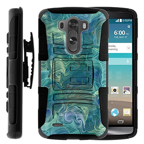 LG G3 Phone Case, LG G3 Belt Clip, Dual Layer Hybrid Armor Hard Cover with Built in Kickstand and Exclusive Illustrations for LG G3 D850, VS985, D851, LS990, US990 (AT&T, T Mobile, Verizon, Sprint, US Cellular) from MINITURTLE | Includes Screen Protector - Twisted Arctic - T Mobile Phones Lg G3