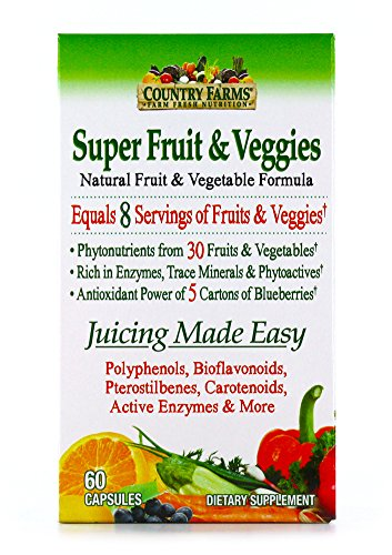 Plus Supplement Fruit - Country Farms Super Fruit and Veggies Capsules, 30 Fruits and Vegetables, 30 Servings