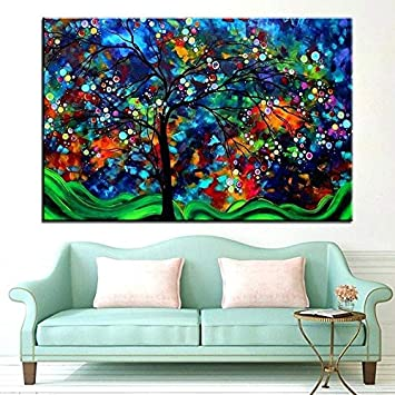 DIY Pintura Diamante 5D Kit Grande Cuadro Paisaje abstracto del árbol Completo Diamond Painting Adultos Niño Cristal Rhinestone Punto Cruz Bordado Art Home Pared Decor R369 Square Drill,60x120cm
