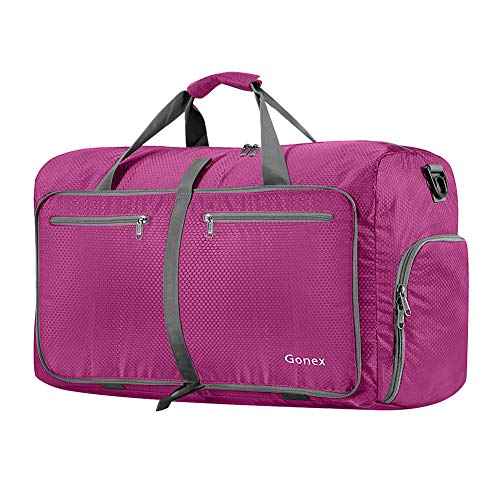 (Gonex 60L Foldable Travel Duffel Bag Water & Tear Resistant, Rose Red)