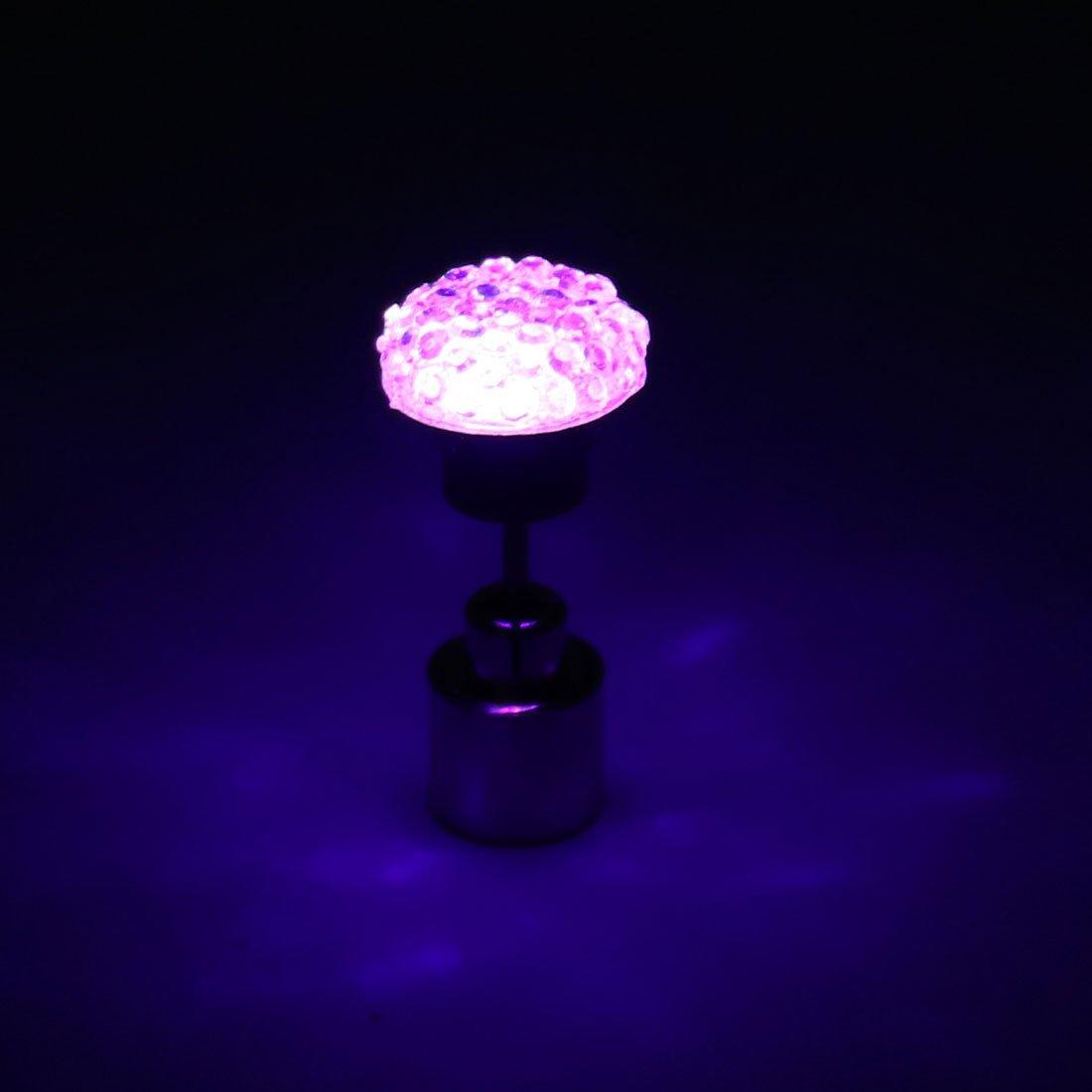 eDealMax Unisex de Forma Redonda del o/ído Light up LED p/úrpura de Bling del perno prisionero de la Navidad de Halloween
