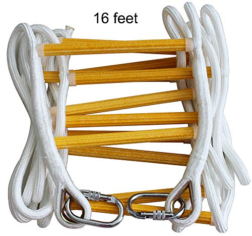 - ISOP Emergency Fire Escape Ladder 16 ft (2 Story) Flame Resistant Safety Rope Ladder With Hooks - Fast To Deploy & Easy To Use - Compact & Easy to Store - Reusable - Weight Capacity up to 2500 Pounds