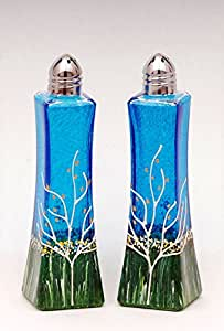 Glass Salt and Pepper Shakers Sapphire Blue Set of 2