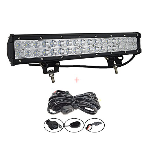AUXTINGS 18 inch 108W Led Light Bar Spot Flood Combo Beam Offroad LED Work Light With Wiring Harness Kit 12V 24V for Jeep Off-road Vehicles 4x4 Atvs Utvs