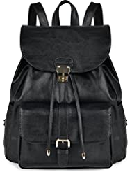 COOFIT Leather Backpack for Girls Casual Daypack Drawstring Leather Backpack