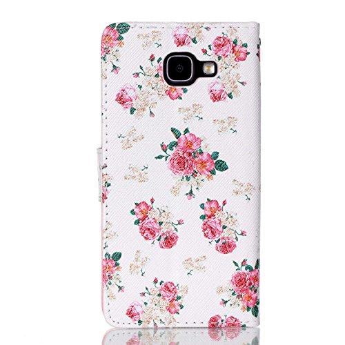 tipo 2016 A5 Premium función nbsp; hermoso Samsung 2016 piel Galaxy con patrón Samsung Galaxy nbsp; Funda de Funda sintética A5 Cartera de piel Flower nbsp;– pintura nbsp;Funda para Rose ikasus Pink de atril Fold libro Funda soportes BAxp88