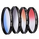 ZOMEI 72mm Pro Gradual Neutral Density Color Lens Filter ND Kit - Red Blue Orange Grey