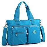 Crest Design Water Repellent Nylon Shoulder Bag Handbag, 14 inch Laptop Bag Notebook Briefcase Travel Work Tote Bag (Deep Sky Blue)