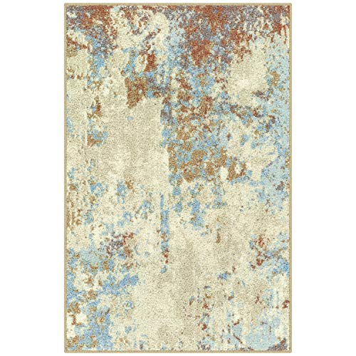 (Maples Rugs Kitchen Southwestern Stone 2'6 x 3'10 Distressed Style Non Skid Washable Throw Rugs [Made in USA] for for Entryway and Bedroom, Multi)