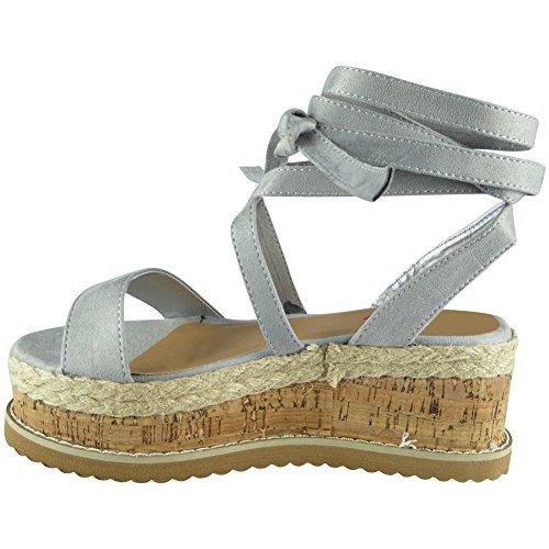 Lace Wedge Size Platform Shoes Loud up up 8 Womens Tie Suede Espadrilles 3 Sandals Look Grey xqqRgwF