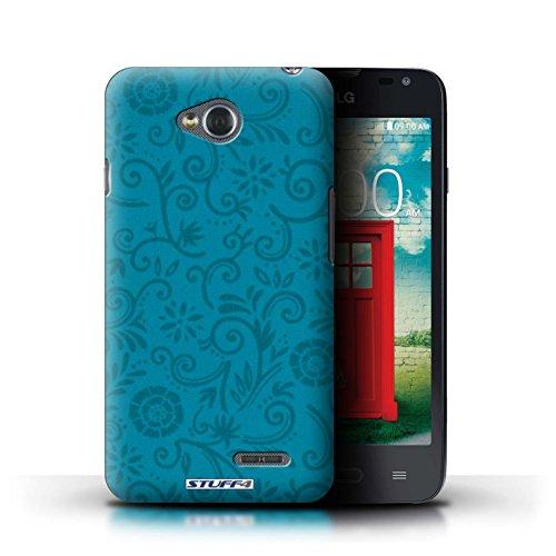 Kobalt® Imprimé Etui / Coque pour LG L65/D280 / Fleur bleue conception / Série Motif Remous floral