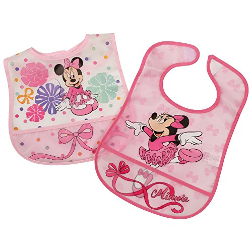 Disney Minnie Mouse 2 Piece Printed Frosted Water Proof Peva Bib, Pink Crumb Catcher Pocket