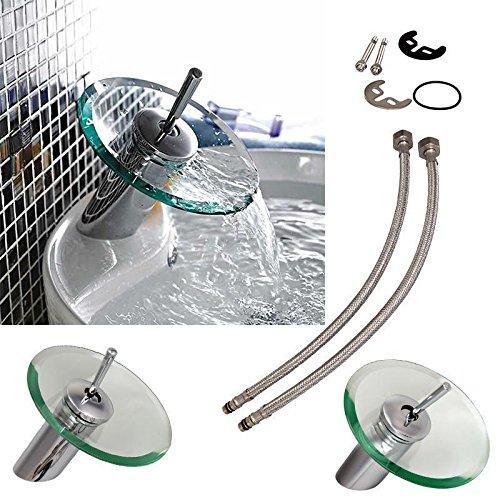 Ridgeyard Glas Einhebelmischer Waschtischarmatur Wasserfall Wasserhahn Badarmatur Chrom