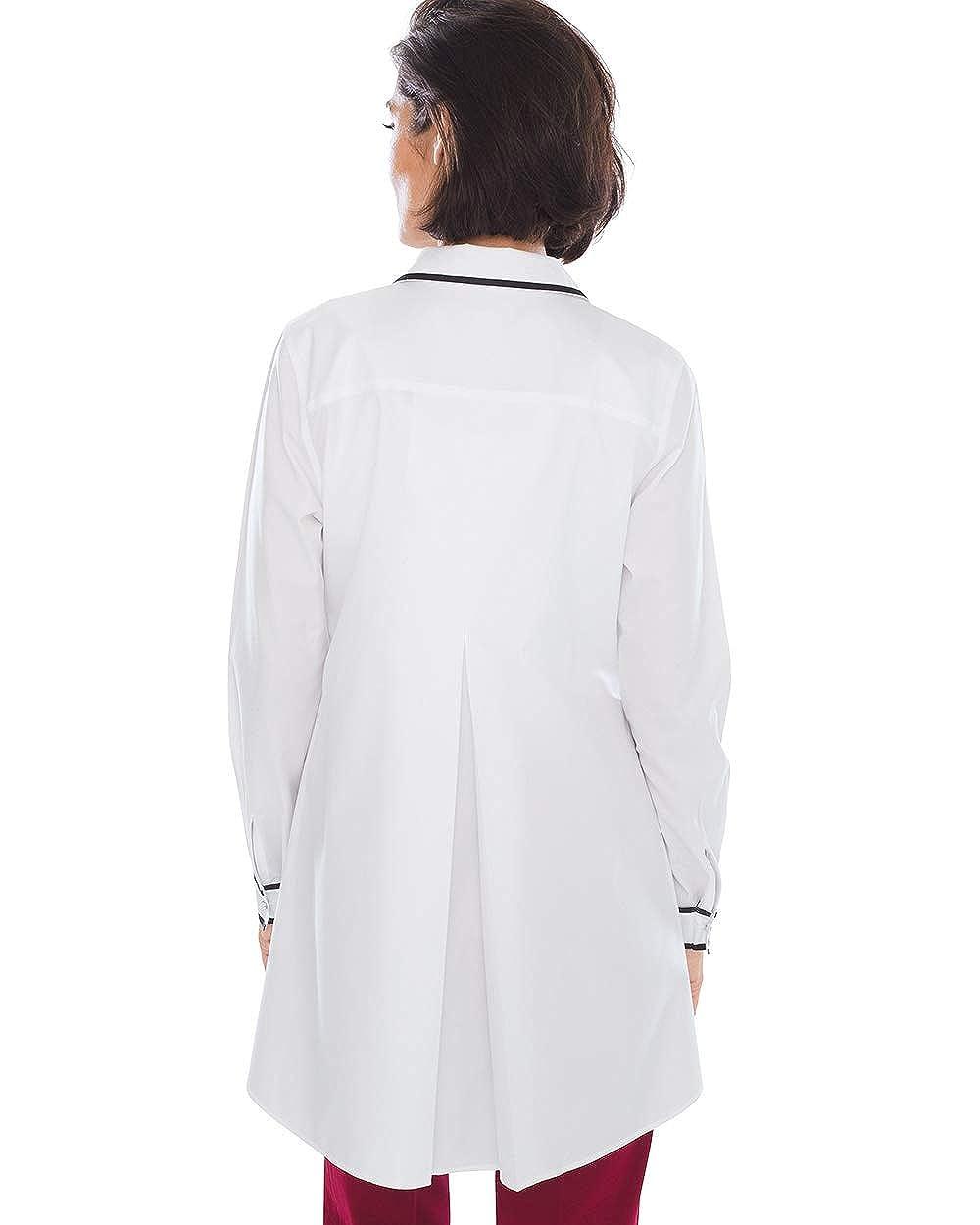 Chicos Womens No-Iron Cotton Contrast-Trim Tunic White