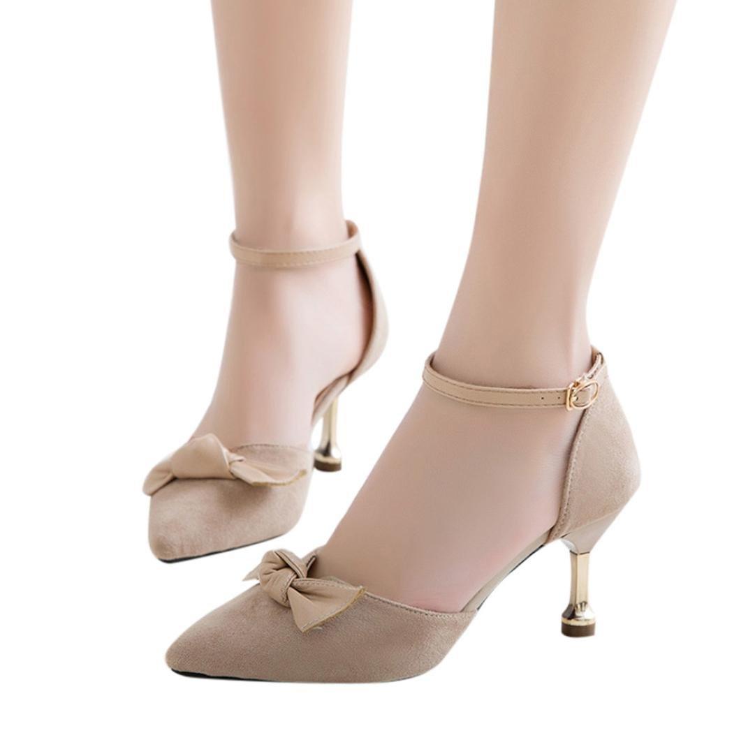 yjydadaレディース靴レディースファッションソリッドカラーBowつま先シンヒール高ヒール付き靴 B07D3X3JSZ 37|カーキ カーキ 37