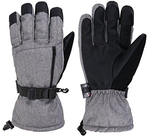 (Livingston Men's Waterproof Touchscreen Ski Gloves, Heather)