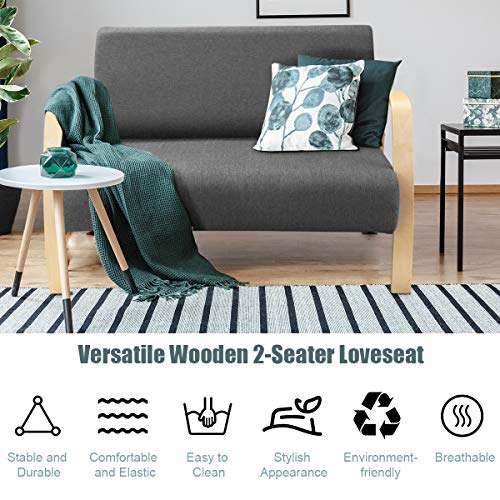 Giantex Modern Accent Wooden Armchair, Contemporary Fabric Upholstered Lounge Chair, Solid Wood Frame & High-Density Foam Seat, Loveseat Chair for Living Room Bedroom Office (Gray)