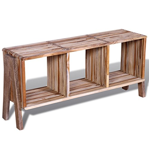 Daonanba Vintage-style TV Cabinet with 3 Shelves Stackable Reclaimed Teak Practical Stylish Side/ Console Table Sideboard